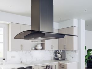 "ZREE42ABSGG Zephyr 42"" Core Collection Ravenna Island Hood with 600 CFM - Black Stainless Steel"