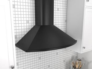 "ZSA-E30DB Zephyr 30"" Savona Series Wall Mount Chimney Range Hood with 685 CFM Blower - Black"