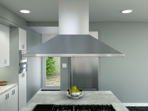 "ZSLE42BS Zephyr 42"" Siena Pro Island Mount Chimney Pro Range Hood with 1200 CFM Blower - Stainless Steel"