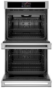 """ZTD90DPSNSS Monogram 30"""" Statement Collection Double Electric Wall Oven with True European Convection and WiFi Connect - Stainless Steel"""