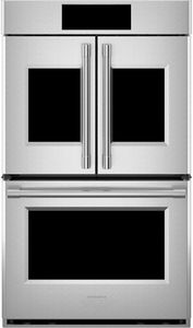 """ZTDX1FPSNSS Monogram 30"""" Statement Collection French Door Double Wall Oven with LCD Controls and WiFi Connect - Stainless Steel"""