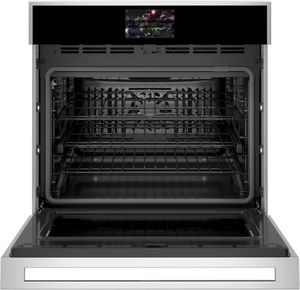 "ZTS90DSSNSS Monogram 30"" Minimalist Collection Single Electric Wall Oven with True European Convection and WiFi Connect - Stainless Steel"