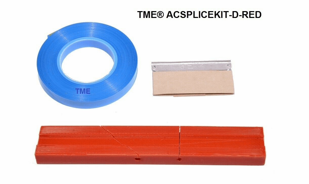 """Splicing Block Kit, Open Reel Audio, for 1/4"""" Open Reel Tape, Red, with Splicing Tape, and Stainless Steel Media Blade by TME"""