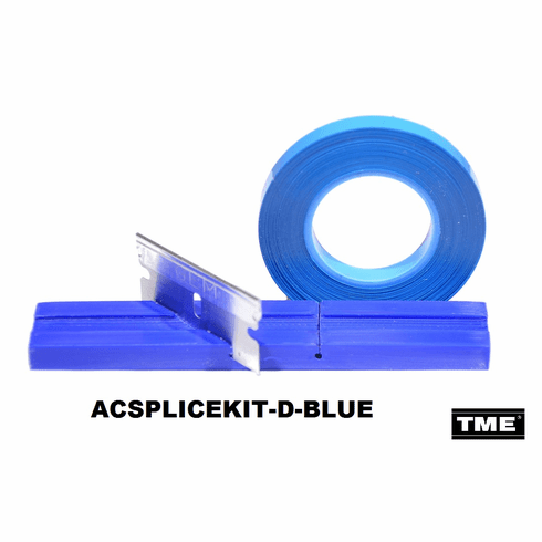 """Splicing Block Kit, Open Reel Audio, for 1/4"""" Open Reel Tape, BLUE, with Splicing Tape, and Stainless Steel Media Blade by TME"""