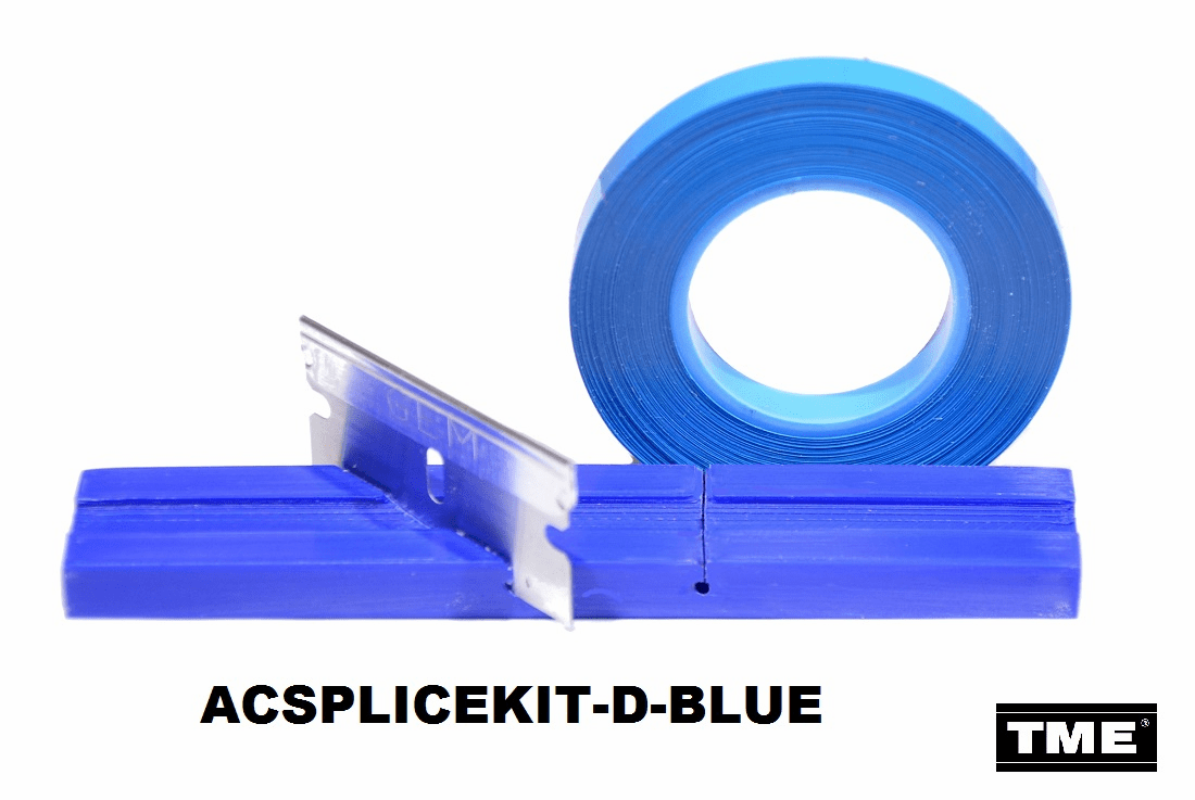 "Splicing Block Kit, Open Reel Audio, for 1/4"" Open Reel Tape, BLUE, with Splicing Tape, and Stainless Steel Media Blade by TME"