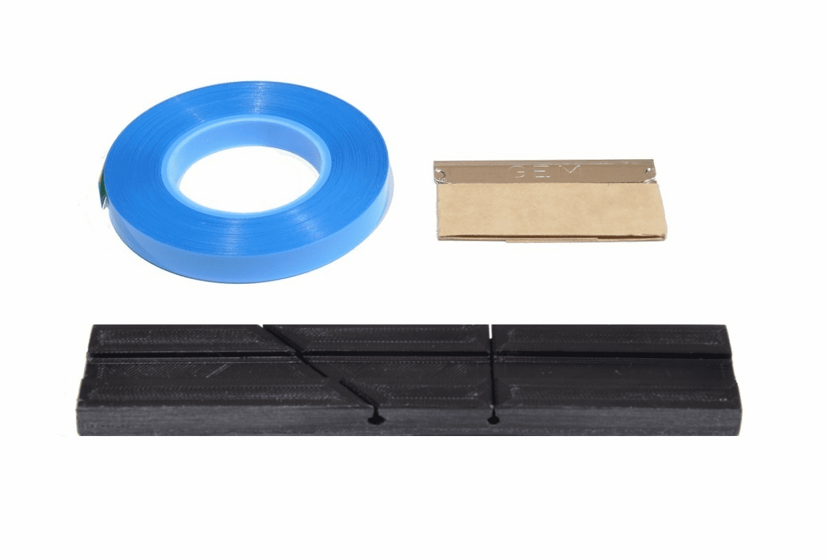 """Splicing Block Kit, Open Reel Audio, for 1/4"""" Open Reel Tape, Black, with Splicing Tape,  and Stainless Steel Media Blade by TME"""