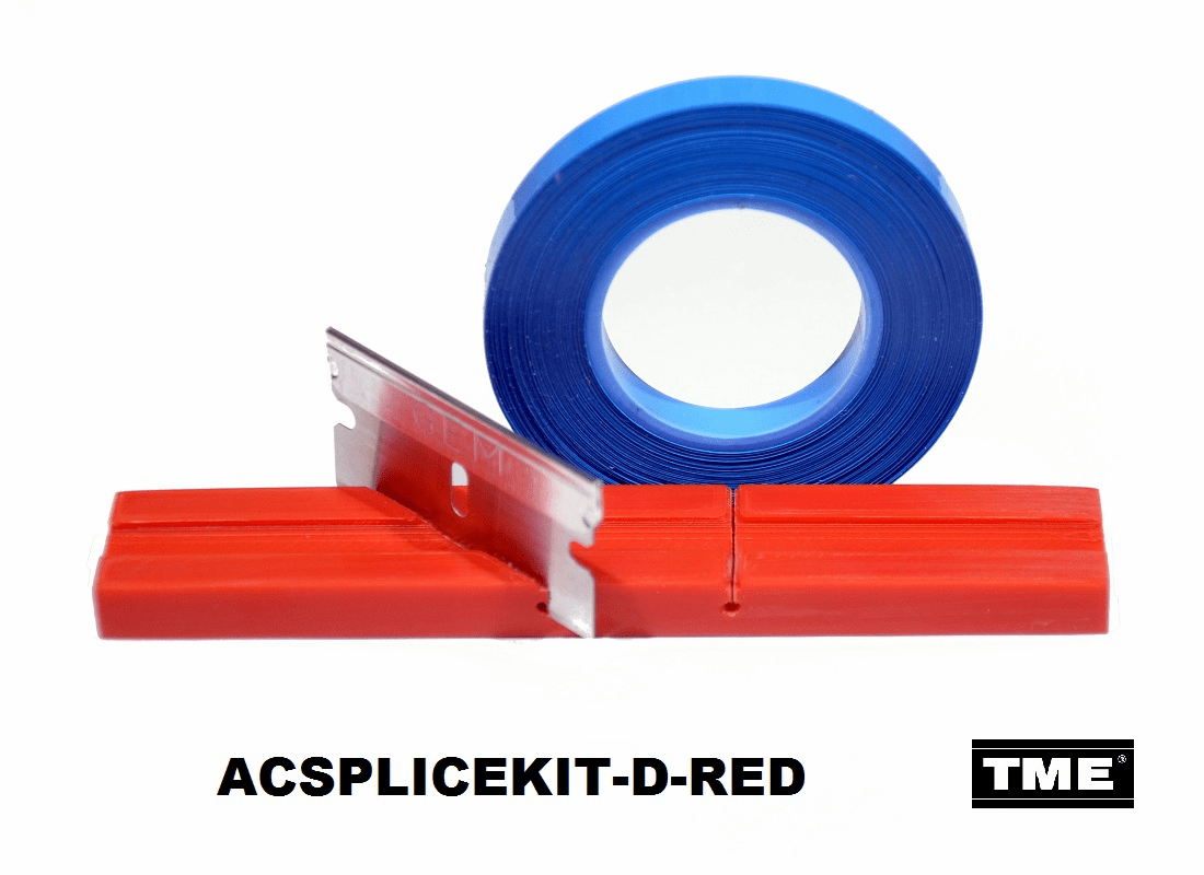 "Splicing Block Kit, Open Reel Audio, for 1/4"" Open Reel Tape, Red, with Splicing Tape, and Stainless Steel Media Blade by TME"