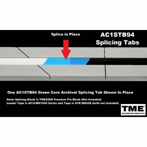 """TME Splicing Tape Tabs Archival Grade for 1/4"""" Recording Tape Roll of 100"""