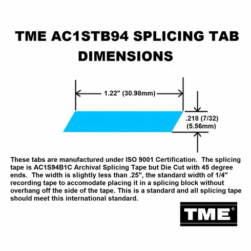 """TME Splicing Tape Tabs Archival Grade for 1/4"""" Recording Tape Roll of 1000 Tabs"""