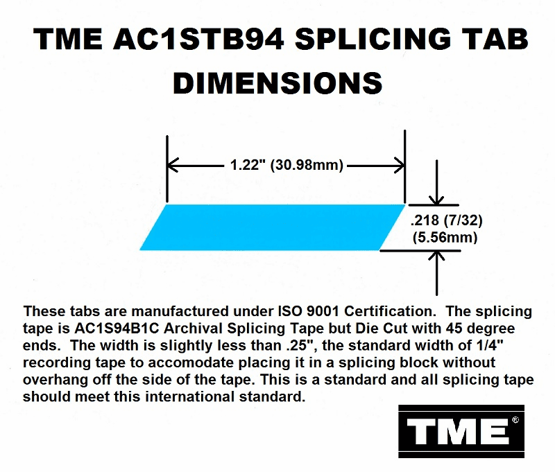 "TME Splicing Tape Tabs Archival Grade for 1/4"" Recording Tape Roll of 1000 Tabs"