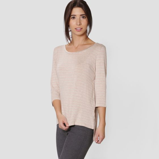 Amour Vert Leonie Striped Top ( Oatmeal Milan )