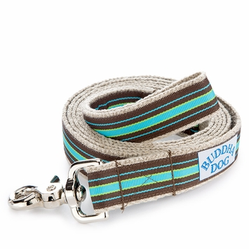 Hemp Buddha Dog Compo Stripe Leash in Blue