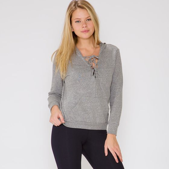 Lanston Lace Up Hoodie ( Heather )