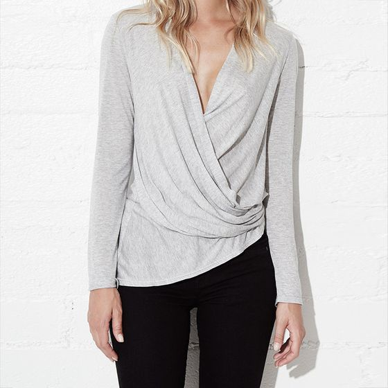 Lanston Long Sleeve Asymmetrical Surplice Top ( Heather )