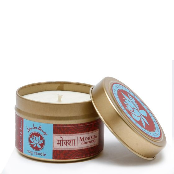 Lotus Love Beauty Soy Candle Tin ( Moksha (Sandalwood & Incense) )