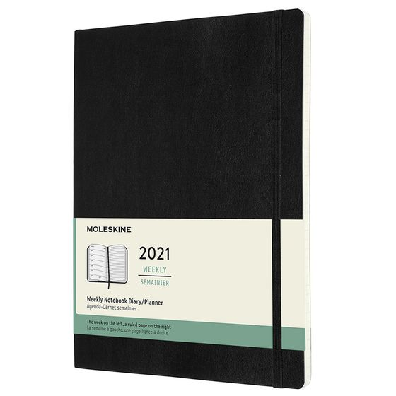 Moleskine 2021 Extra Large Soft Cover Weekly Planner + Notes (7.5 x 9.75) ( Black )