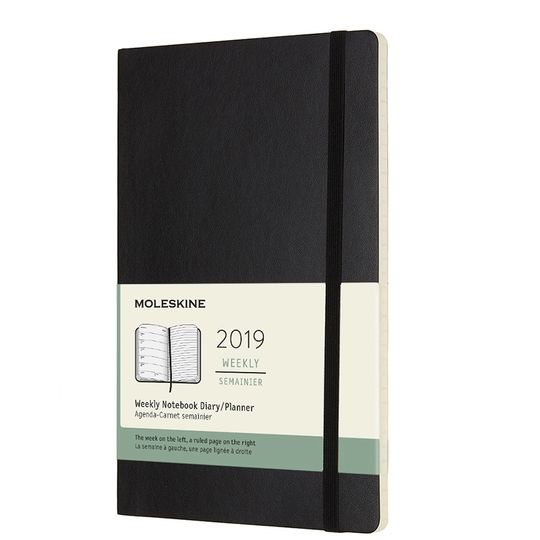 Moleskine 2019 Large Soft Cover Weekly Planner + Notes (5 x 8.25) ( Black )