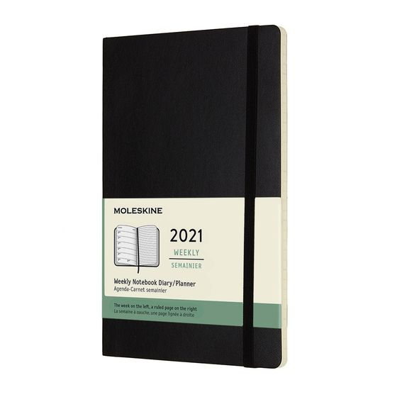 Moleskine 2021 Large Soft Cover Weekly Planner + Notes (5 x 8.25) ( Black )