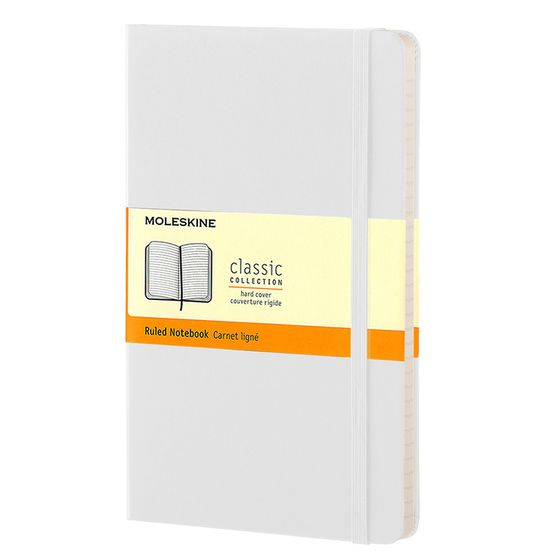 Moleskine Classic Large Hard Cover Notebook (5 x 8.25) ( White )