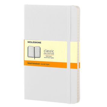 Moleskine Classic Large Hard Cover Notebook (5 x 8.25) in White