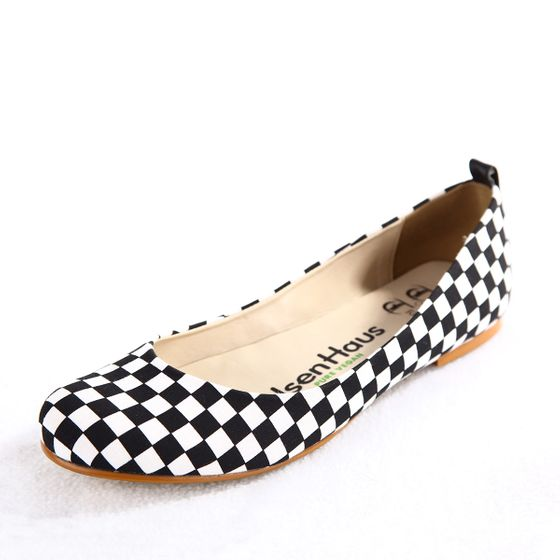 Olsen Haus Shanti Ballet Flat ( Black Checkerboard Cotton )