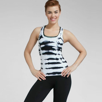 Phat Buddha Racer Back Tie Dye Tank in Black/White