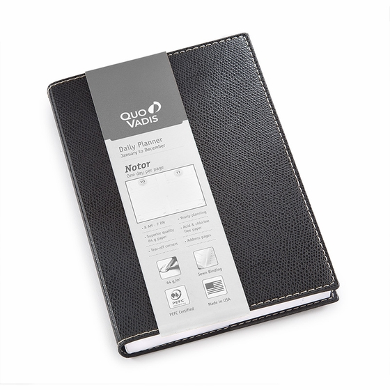 Quo Vadis 2022 Notor Daily Planner with Club Cover (5 x 7) ( Black )