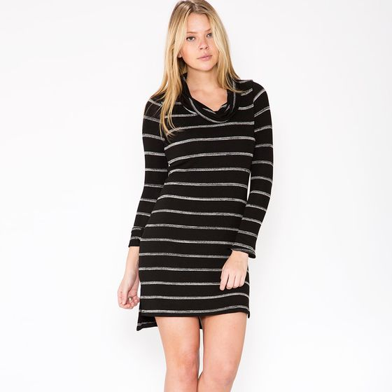 Red Haute Cowl Sweater Dress ( Black )