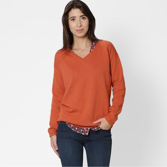 Six Ten Cotton V-Neck Sweater ( Spice )
