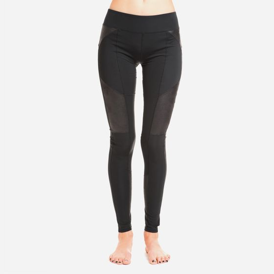 Solow Vegan Suede Panel Legging ( Black )