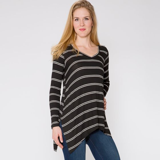 SALE / Splendid Double Stripe Top ( Black/White )