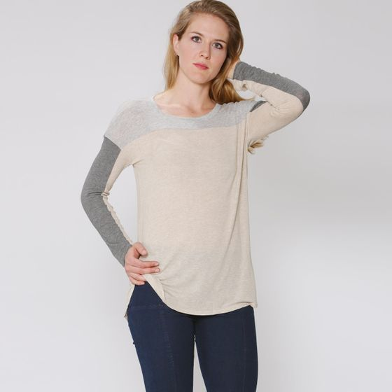 Splendid Color Block Drapey Lux Shirt ( Oatmeal/Steel/Grey )