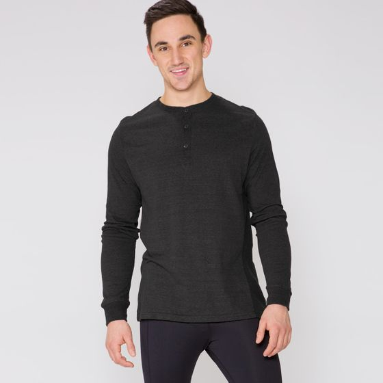 Threads 4 Thought LS Henley Thermal Shirt ( Heather Black )