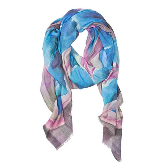 Tilo Printed Scarf ( Blue Flower )