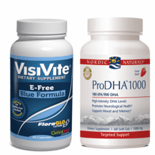 VisiVite® AREDS 2 E-Free Blue and Nordic Naturals® ProDHA-1000 Bundle - 1 month supply