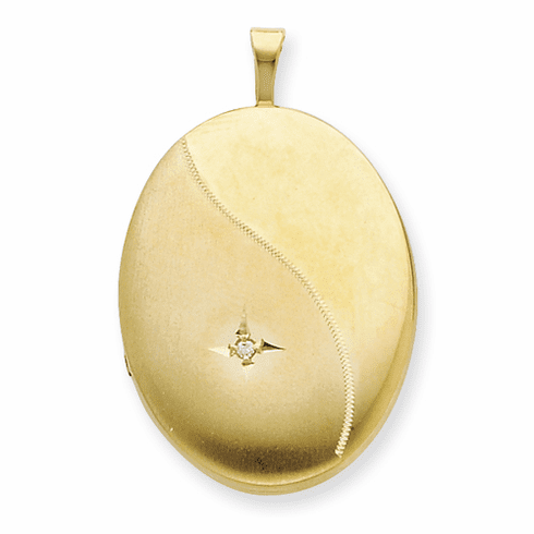 1/20 Gold Filled 20mm Diamond Satin and Polished Oval Locket