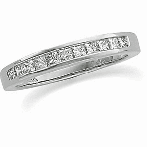 1/2ct tw Princess Cut Diamond and Platinum Anniversary Band