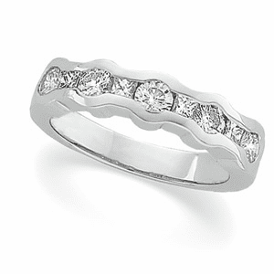 1 ct tw Princess and Round Cut Diamond and Platinum Anniversary Band
