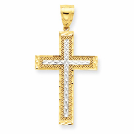 10k Gold & Rhodium Diamond-Cut Cross Pendant