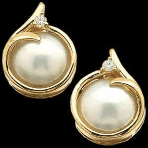 12.5mm Mabe Pearl and Diamond Earrings