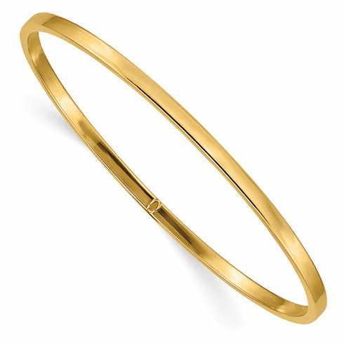 14 gold slip on bangle, 3mm wide