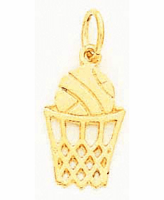 14K BASKETBALL IN NET CHARM