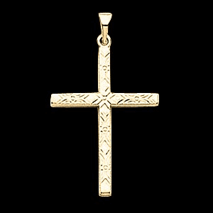 14k Diamond Cut Gold Cross Pendant