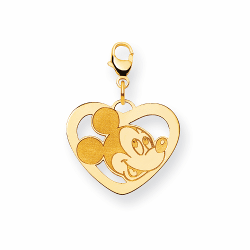 14k Disney Mickey Heart Lobster Clasp Charm