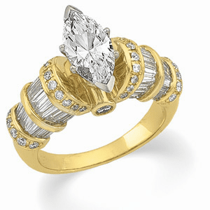 14k Gold 2 Carat Contemporary Engagement  Ring With Baguette Accents