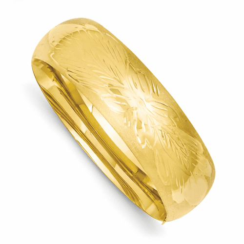 14k Gold 20mm Florentine Engraved 8 inch Bangle