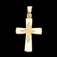14k Gold Cross With Dove Design