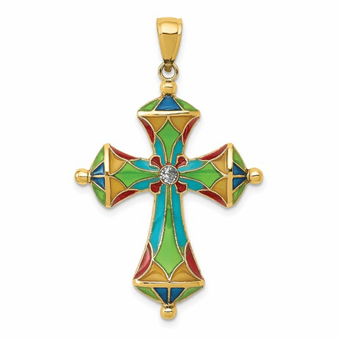 14k Gold De Ani Stained Glass Cross in honor of Pope Francis