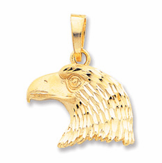14k Gold Diamond-cut Eagle Head Pendant