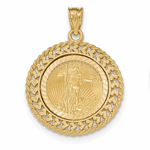 14k Gold Double Row Diamond Cut Bezel With 22k Gold 1/10oz Liberty Coin